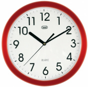 Trevi 3301 - Silent Quartz Wall Clock with Sweep Movement - 25cm diameter - Red