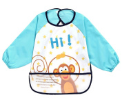 Cute Cartoon Monkey Waterproof Sleeved Bib Baby Smock Baby Bibs, 0-3 Years