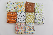 10 Pack Pocket Cloth Nappies with 20 Inserts (2 Inserts Per Nappy)-unisex 1