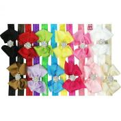 Kella Milla Ribbon Bow with Rhinestone Button Centre Stretchy Headband, Set of 12