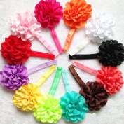 Baby Girl Elastic Headbands with Flower Hair Bows