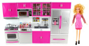 My Modern Kitchen Full Deluxe Kit Battery Operated Toy Doll Kitchen Playset w/ Toy Doll, Lights, Sounds, Perfect for Use with 28cm - 30cm Tall Dolls