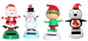 2014 Version -1 Snowman 1 Santa Claus on Chimney 1 Elf 1 Penguin Christmas Solar Powered toy Set of 4