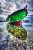 Glass Wall Art Acrylic Decor Coloured Green Boat on Calm Water, 5 Stars Gift Startonight 60cm X 90cm
