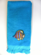 Tropical Fish fingertip hand Towel aqua applique