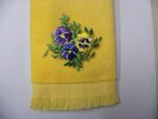 Yellow Pansies Bath Hand Fingertip Towel Applique Pansy Mom Aunt Grandma