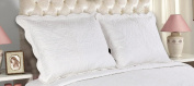 All For You 2-Piece Embroidered Pillow Shams-King size-white colour (king, white)-free shipping