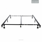 STRUCTURES Low Profile 8-Leg Heavy Duty Adjustable Metal Bed Frame with Rug Rollers and Locking Wheels - Universal Size