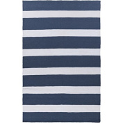 0.6m x 0.9m Nautical Highlife Navy Blue and White Shed-Free Area Throw Rug