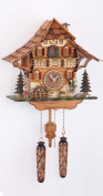 Quartz Cuckoo Clock Black Forest house with moving mill wheel and clock peddler, with music TU 478 QM HZZG