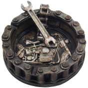Decorative Motorcycle Chain Ashtray with Wrench and Bike Motif Great for a Biker Bar & Harley Mechanics Shop Smoking Room Decor As Unique Father's Day Gifts for Men or Smokers