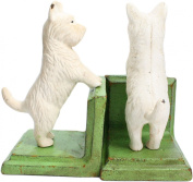 HomArt Set of 2 Cast Iron Standing Westie Bookends, White/Green