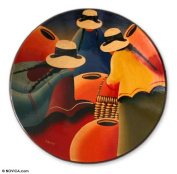 Ceramic plate, 'Women of the Andes' - Hand Painted Decorative Plate