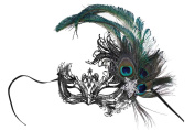 Veronica Laser-Cut Metal Black Venetian Women's Masquerade Mask w/Peacock Feathers