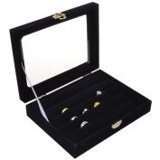 KLOUD City® Black Glass Top 4 Rows Velvet Jewellery Rings /Earrings Display Case /Organiser/Show Trays
