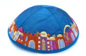 Jewish Kippah Yarmulke-jerusalem Blue-embroidered Kippas Israel Judaica Emanuel