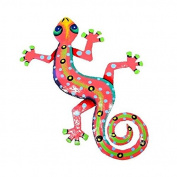 Recycled Pink Metal Gecko Wall Art