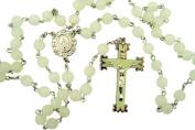 Glow in the Dark! Luminous Rosebud Rosary. White Material