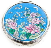 Silver J Hand mirror, handmade mother of pearl oriental gift, turquoise peony.