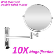 BTSKY™ Chrome Finish ,360 Degree, 30cm Extension, 20cm Two-Sided Swivel Wall Mounted Mirror, Extending Folding Bathroom Shaving Cosmetic Make Up Mirror