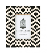 Shiraleah Loft Geometric Inlay Picture Frame, 9.5 by 19cm by 1.3cm , Black