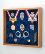 "Law Enforcement Memorabilia Shadow Box Display - 50cm x 46cm x 3"" - perfect for all Police, Sheriff, DEA, FBI, CHP, Firefighter"