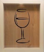 Wooden Shadow Box Wine Cork/Bottle Cap Holder 9x11 - Wine Glass Silhouette