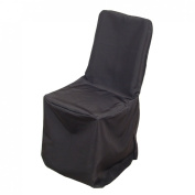 LinenTablecloth Polyester Square Top Banquet Chair Cover Black