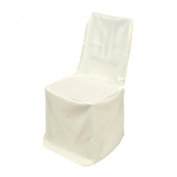 LinenTablecloth Polyester Square Top Banquet Chair Cover Ivory