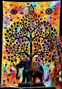 Elephant Tree Tapestry ,Good Luck Elephant Tapestry , Hippie Gypsy Wall Hanging , Tree of Life Tapestry , New Age Dorm Tapestry