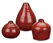 Sullivans 8.9cm 11cm and 14cm Set of 3 Decorative Crackled Vases in Red
