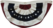 American Flag Bunting Natural Embroidered Stars & Stripes Red White Blue Country Primitive Patriotic Décor