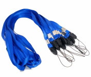 Rockin Beads Brand, 50 Blue Neck Strap Lanyard for Id Card or Cell Phone 90cm Long