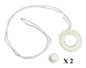 Two Pack ROLLER WINDOW SHADE Double Crochet WHITE RING PULL & SCREW BUTTON SET from Shade Doctor of Maine