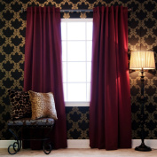 Best Home Fashion Thermal Insulated Blackout Curtains - Back Tab/ Rod Pocket - Burgundy - 130cm W x 210cm L -