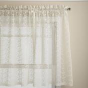 Lorraine Home Fashions Priscilla 150cm x 90cm Tier Curtain Pair, Ivory