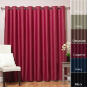 Best Home Fashion Wide Width Thermal Insulated Blackout Curtain - Antique Bronze Grommet Top - Burgundy - 250cm W x 210cm L -