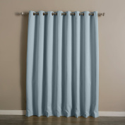 Best Home Fashion Sky Blue Wide Width Grommet Top Thermal Blackout Curtain 100