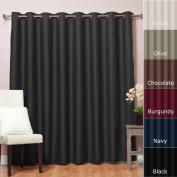Best Home Fashion Wide Width Thermal Insulated Blackout Curtain - Antique Bronze Grommet Top - Black - 250cm W x 210cm L -