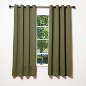 Best Home Fashion Thermal Insulated Blackout Curtains - Antique Bronze Grommet Top - Olive - 130cm W x 160cm L -