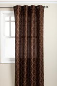 Stylemaster Hudson 140cm by 210cm Embroidered Faux Silk Grommet Panel, Espresso