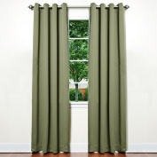 Best Home Fashion Thermal Insulated Blackout Curtains - Antique Bronze Grommet Top - Olive - 130cm W x 210cm L -