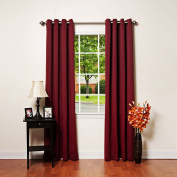 Best Home Fashion Thermal Insulated Blackout Curtains - Antique Bronze Grommet Top - Burgundy - 130cm W x 210cm L -