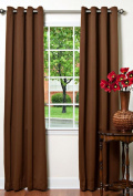 Best Home Fashion Thermal Insulated Blackout Curtains - Antique Bronze Grommet Top - Chocolate - 130cm W x 210cm L -
