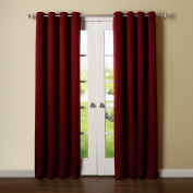 Best Home Fashion Thermal Insulated Blackout Curtains - Antique Bronze Grommet Top - Burgundy - 130cm W x 240cm L -