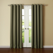 Best Home Fashion Thermal Insulated Blackout Curtains - Antique Bronze Grommet Top - Olive - 130cm W x 240cm L -