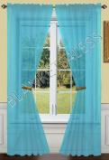 2 Piece Solid Turquoise Sheer Window Curtains/drape/panels/treatment 140cm w X 210cm l