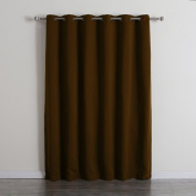 Best Home Fashion Wide Width Thermal Insulated Blackout Curtain - Antique Bronze Grommet Top - Chocolate - 200cm W x 210cm L -