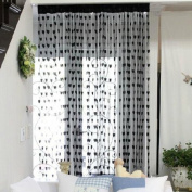 Vktech Romantic Heart Shape Line Curtain for Partition Wall Vestibule Curtain Black