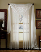 3 Piece Beige Sheer Voile Curtain Panel Set